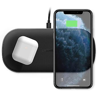 CHOETECH Dual Fast Wireless Charger,[Full Coverage Charging Area]5 Coils 10/7.5W Wireless
