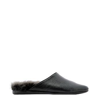 Farfalla Orm3acervonero Men's Black Leather Slippers