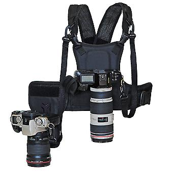 Nicama double multi camera carrier chest harness vest with mounting hubs, side holster & backup safe