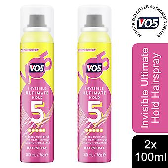 2x of 100ml VO5 Invisible Ultimate Hold Coconut Fragrance Weatherproof Hairspray