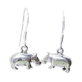 Nilpferd Sterling Silber Ohrringe .925 X 1 Paar Flusspferde - 8478