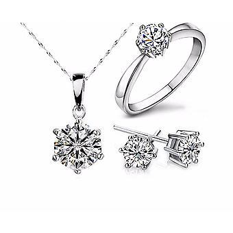 Stříbrné barevné šperky sady, cubic zircon, výpis náhrdelník & náušnice, prsteny,