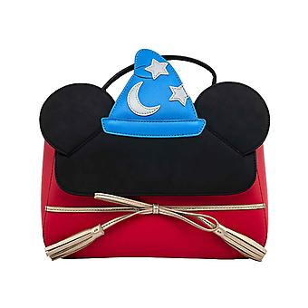 Mickey Mouse Crossbody Bag Fantasia Sorceror Official Loungefly Disney Red
