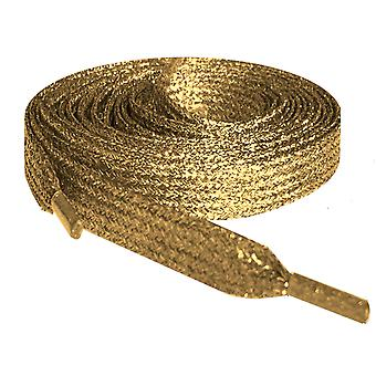 Gold Metallic Flat Glitter Shoelaces