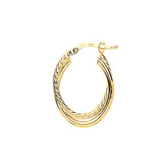 Jewelco London Ladies Yellow Gold-Plated Sterling Silver # Twist Double Oval Hoop Brincos