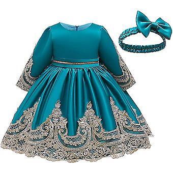 Baby Girls Satin Bowknot Tutu Vestidos de fiesta con sombrero azul