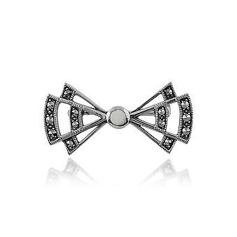 Art Deco Style Round Opal & Marcasite Openwork Fan Brooch in 925 Sterling Silver 214C268601925