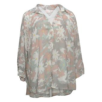 Belle by Kim Gravel Women's Top Floral Printed V-Neck White A392581