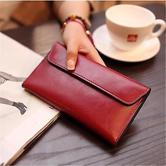 Äkta läder kvinnor plånbok lång magnetisk spänne kvinnliga plånbok kvinnor koppling väskor ko läder mynt handväska kreditkort hållare