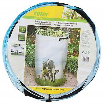 aufklappbarer Gartenabfallbeutel 120 Liter mit Aufdruck einer Kuh