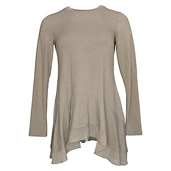 LOGO by Lori Goldstein Women's Top (XXS) Jersey Knit Beige A367615