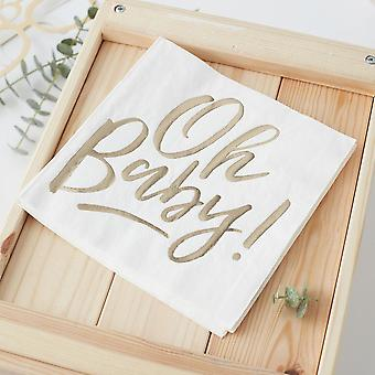 Gold Baby Shower Napkins   Oh Baby! Foiled Gender Neutral Unisex x16