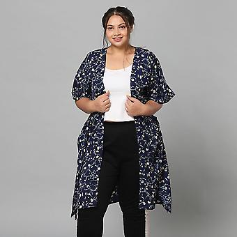 Floral Bohemian Look Long Kimono in Navy Size up to 20