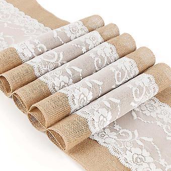 FengChun Jute Tischläufer 5 Stück Rustikale Sackleinen Spitze Hessisches Rustikale Land für Hochzeit