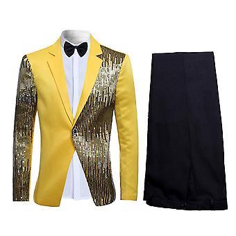 Allthemen Men's Casual Half-sided Sequins Notched Lapel One Button Evening Dress Two-piece Suit