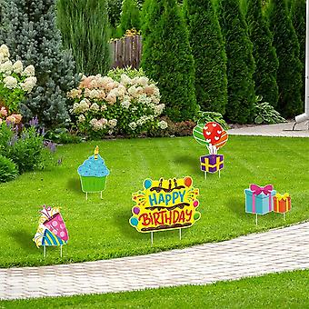 Happy Birthday Yard Sign Plastic, Stake Birthday Party, Waterproof Lawn Single