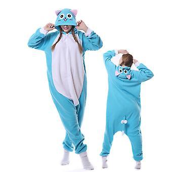 Regenboghorn Blue Cat Costume Pajama Onesie Kigurumi Jumpsuit Animal Hoodie