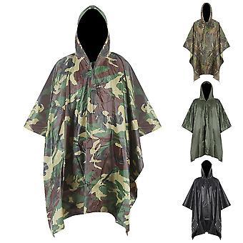 3 i 1 Vandring Poncho Rain Coat Ryggsäck Vattentät Presenning med huva jakt Poncho Utomhus Camping TältMatta Markis skydd