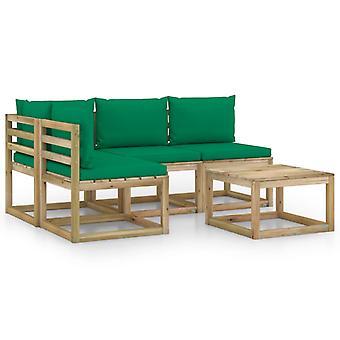 vidaXL 5-tlg. Garten-Lounge-Set mit Grünen Kissen
