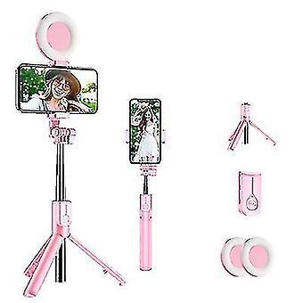 Bluetooth Selfie Stick z led ring light, wysuwany ręczny statyw na żywo (różowy)