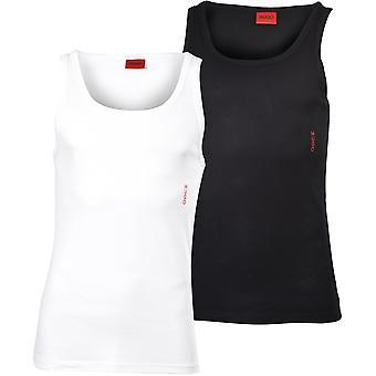 HUGO 2-Pack Boční logo Žebrované stretch bavlněné vesty, černobílé