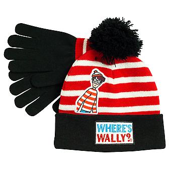 Où's Wally Striped Girls Beanie and Gloves Set   Marchandises officielles