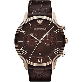 Emporio Armani AR1616 clásico cuero marrón correa oro romano números Dial Watch