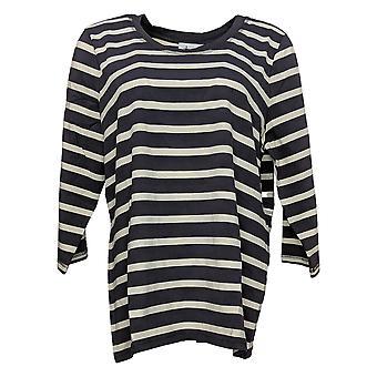 Denim & Co. Top Essentials Femme Jersey Parfait Jersey Striped Tee Gris A256326