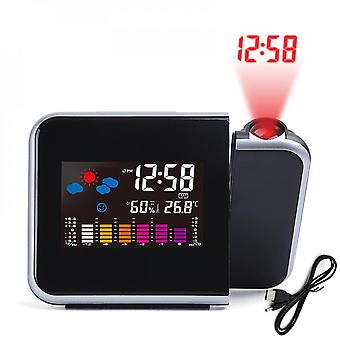 Home Lcd Screen Weather Clock Projection Clock Clock, Suitable For Weather Forecast Projection Black