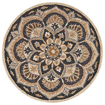 6' pyöreä musta kukka kukka alue matto