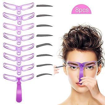 Eyebrow enhancers reusable 8 styles eyebrow shaping template helper eyebrow stencils kit grooming card