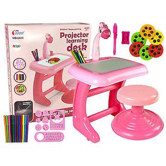 Barnbord - Ritbord - med projektor - Rosa - 44x36x45cm
