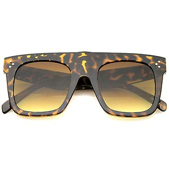 Modern Fashion Bold Flat Top Square Horn Rimmed Sunglasses 50mm
