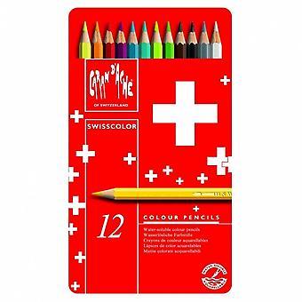 Caran D'Ache Swisscolor Water Soluble Colouring Pencils 12 Tin