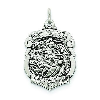 925 Sterling Silver Solid Satin Engravable Sparkle-Cut Antique finish St. Michael Badge Medal Charm