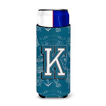 Letter K Sea Doodles Initial Alphabet Ultra Beverage Insulators for slim cans