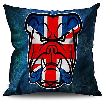 Brittish Bull Dog Flag Linen Cushion 30cm x 30cm | Wellcoda