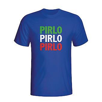 Andrea Pirlo Italië speler vlag T-shirt (blauw)
