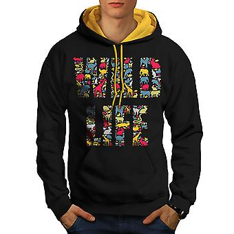 Wild Life Animal Nature Men Black (Gold Hood)Contrast Hoodie | Wellcoda