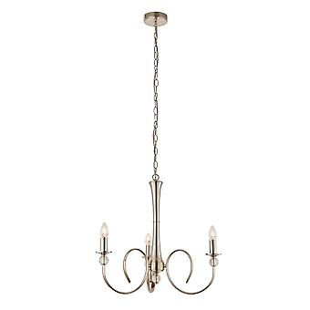 Interiors 1900 Fabia Chandelier 3 Light Nickel Plated & Beige Shades