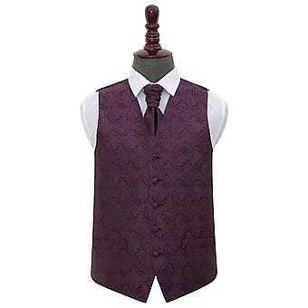 Paisley púrpura boda chaleco y corbata conjunto