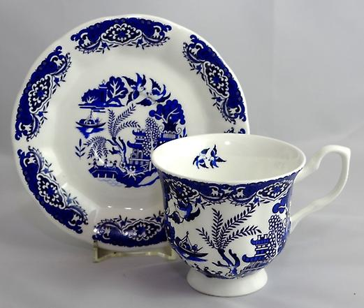 English Bone China Teacup and Saucer Old Willow