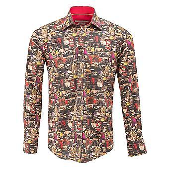 Phares de voiture Claudio Lugli Vintage imprimer chemise Mens