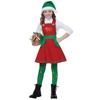 Elf i kostnad Santa Helper Christmas ferie Festival Dress Up Girls drakt