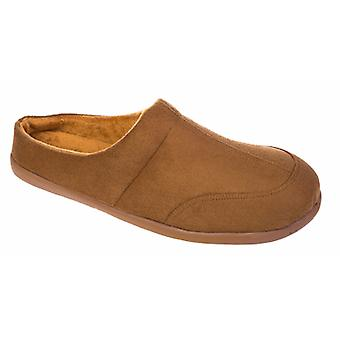 Coolers Mens Polar Fleece Lined Microsuede Mule Slippers