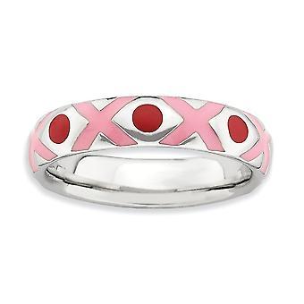 4,5 mm 925 Sterling Silber rosa Emaille Rhodium vergoldet stapelbare Ausdrücke poliert rosa rot emailliert Ring Schmuck Geschenke