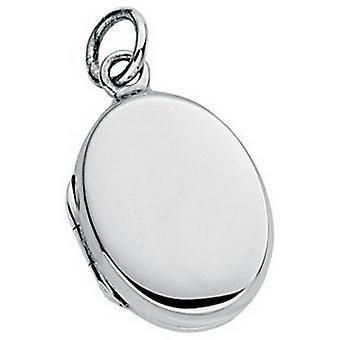Anfängen kleinen Tiefebene ovalen Medaillon Anhänger - Silber