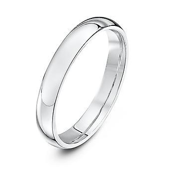 Star Wedding Rings 9ct White Gold Heavy Court Shape 3mm Wedding Ring