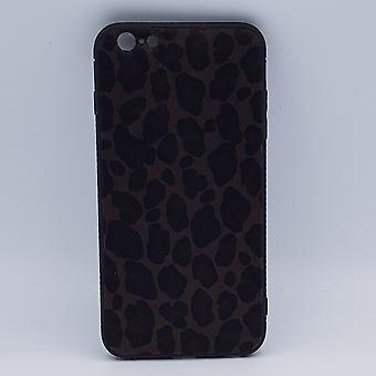 iPhone 6 Plus case-Leopard look-fluffy-dark brown