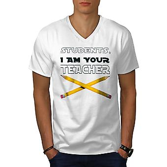Soy tu profesor Men camiseta de cuello blanco | Wellcoda